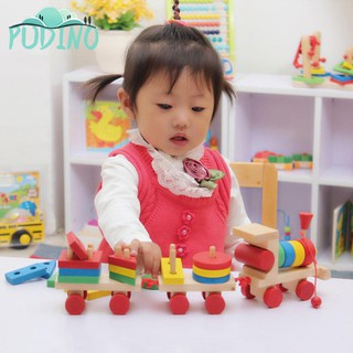 ∫ Great Baby Wooden Solid Wood Stacking Train Block Educational Toy