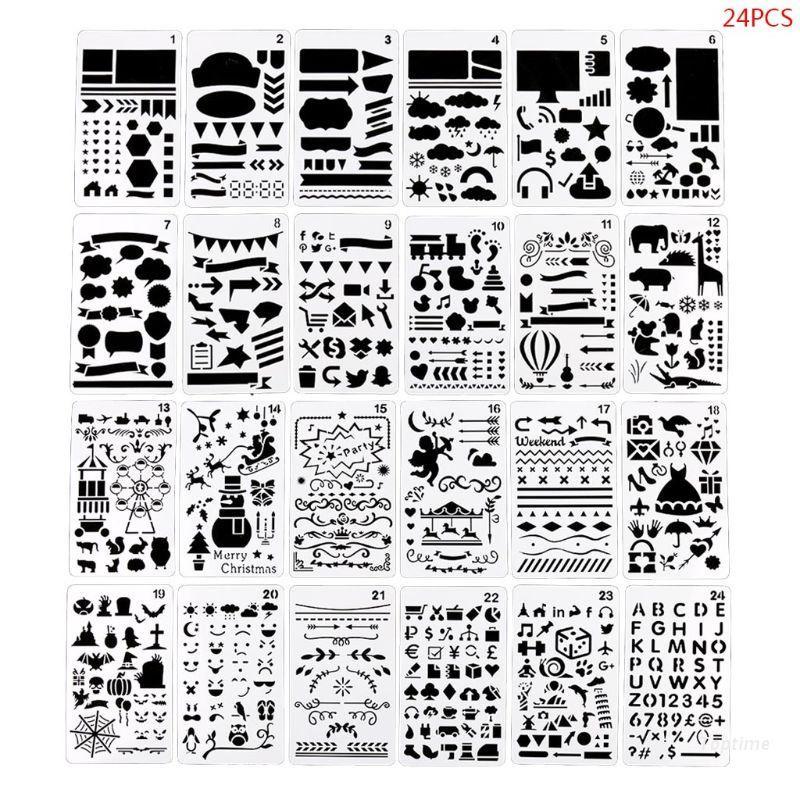 Top 24pcs/set Journal Drawing Template Ruler Stencil Painting Board DIY Album Decoration Tool Craft