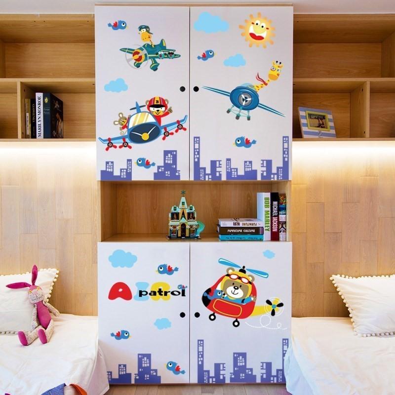 Decal dán tường trang trí phòng trẻ hình xe buýt Happy Adventure kích thước 2m x 2m