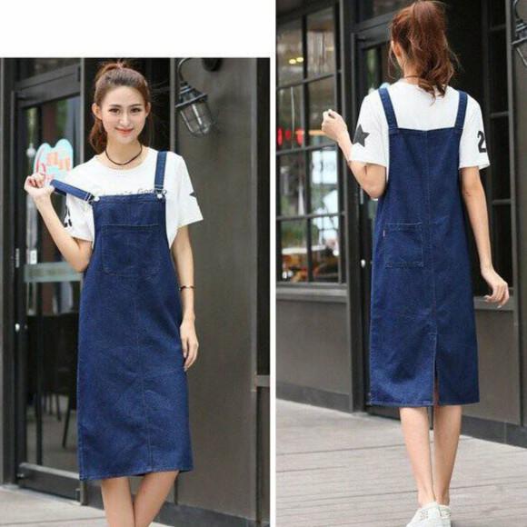 Đầm yếm jean suông dài nữ cao cấp (không kèm áo) | Yếm jean váy dài 2 túi trước và sau cá tính phong cách Hàn quốc