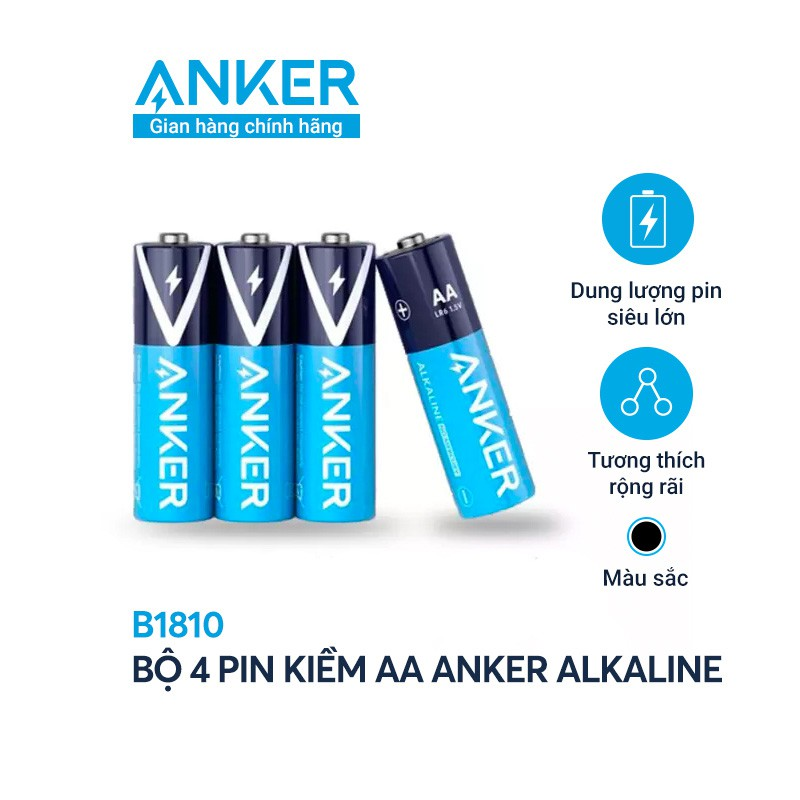 Pin Kiềm AA ANKER Alkaline (Bộ 2 Pin/4 Pin) - B1810