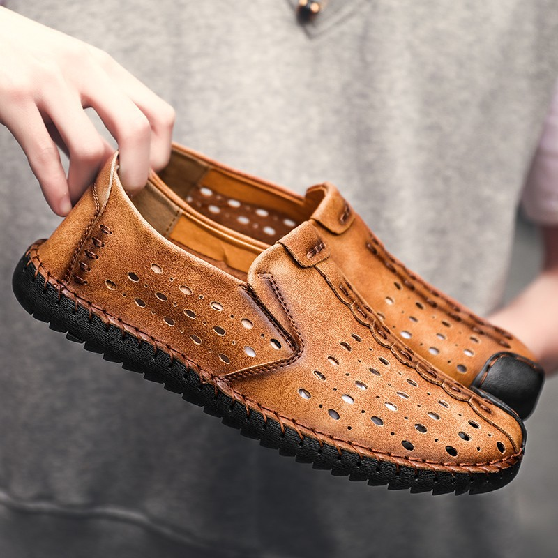ards Bean shoes men wear hundreds of King size 46 breathable hollow shoes