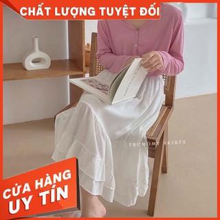 HÀNG NHẬP KHẨU – Chân váy lụa xòe midi dáng dài cách điệu xếp tầng Vintage style Hàn Quốc – Hàng Quảng Châu- Trumomy –