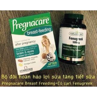 Combo vitamin lợi sữa Pregnacare breastfeeding và Cỏ cà ri lợi Fenugreek