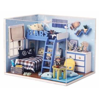 Bộ mô hình nhà gỗ DIY: Căn Phòng Blue-H 005