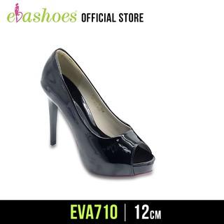 Giày Cao Gót Hở Mũi Đế Đúp Da Bóng 12cm Evashoes - Eva710(Màu Đen,Kem)