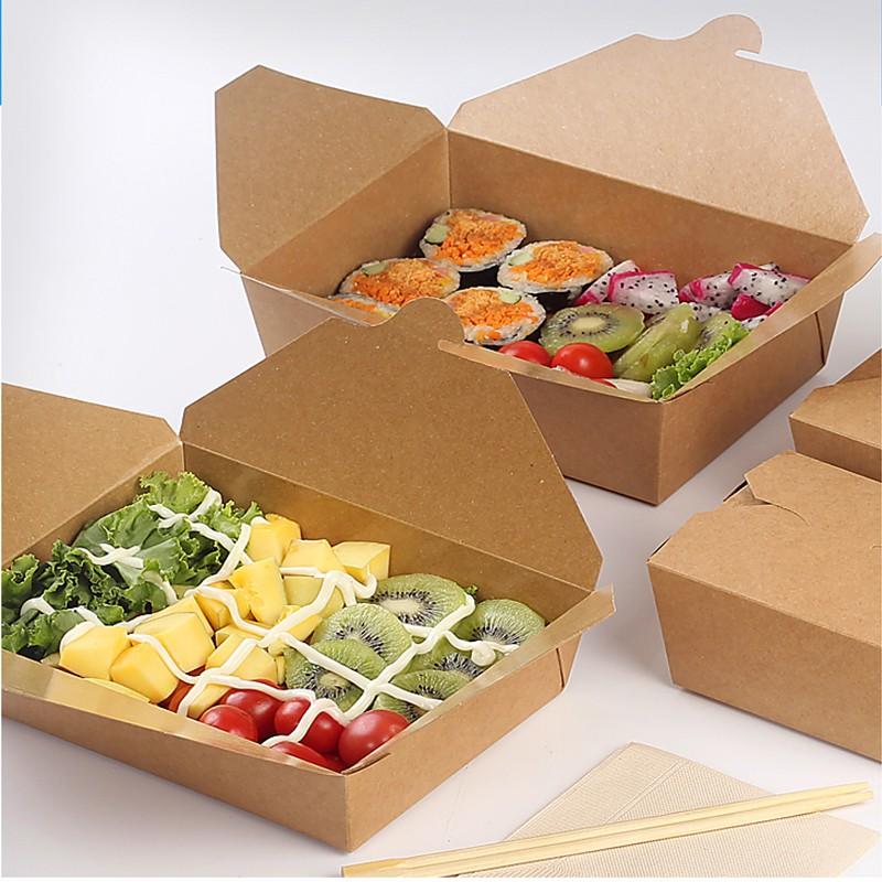 [50 hộp]Hộp giấy kraft nâu móc chéo đựng thức ăn như cơm văn phòng, salad, xôi, vịt quay size 1000,1400,2000 ml