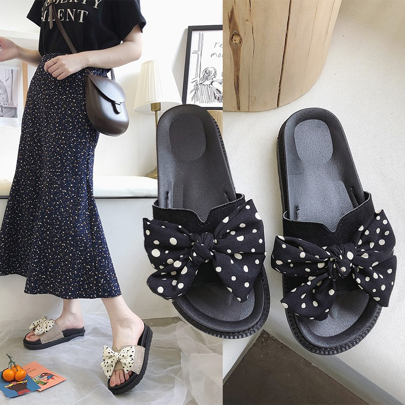 ar 2019 summer new net red wild fashion bow wave point Korean casual beach shoes