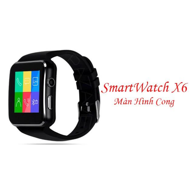 Đồng Hồ Thông Minh Màn Hình Cong SmartWatch SX6 (Đen)