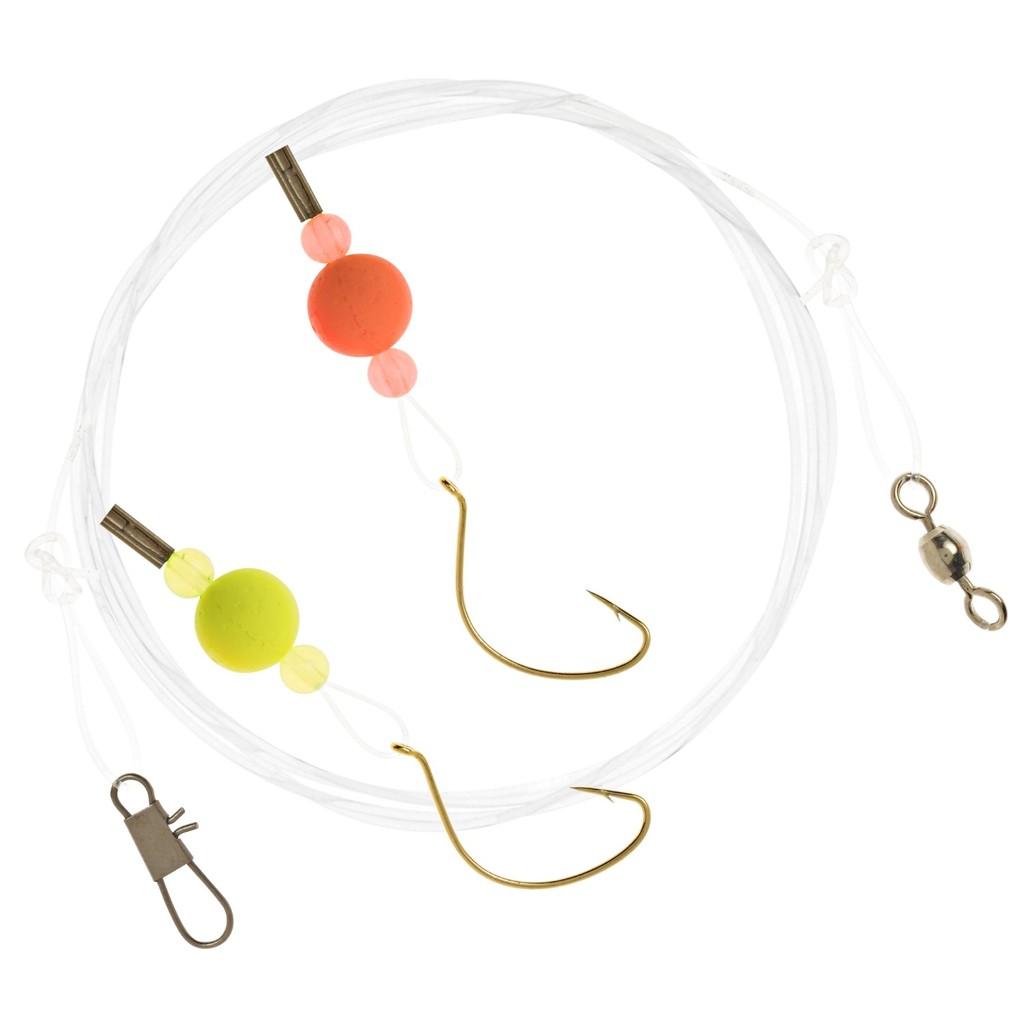 Thẻo câu cá Matzuo gồm 2 lưỡi đơn size 6, phao, hột chặn, khoen, khóa ma ní gắn sẵn cước leader dài