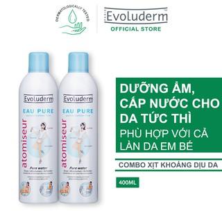Bộ 2 Xịt khoáng dưỡng da cấp ẩm Evoluderm Atomiseur Eau Pure 400ml chai thumbnail