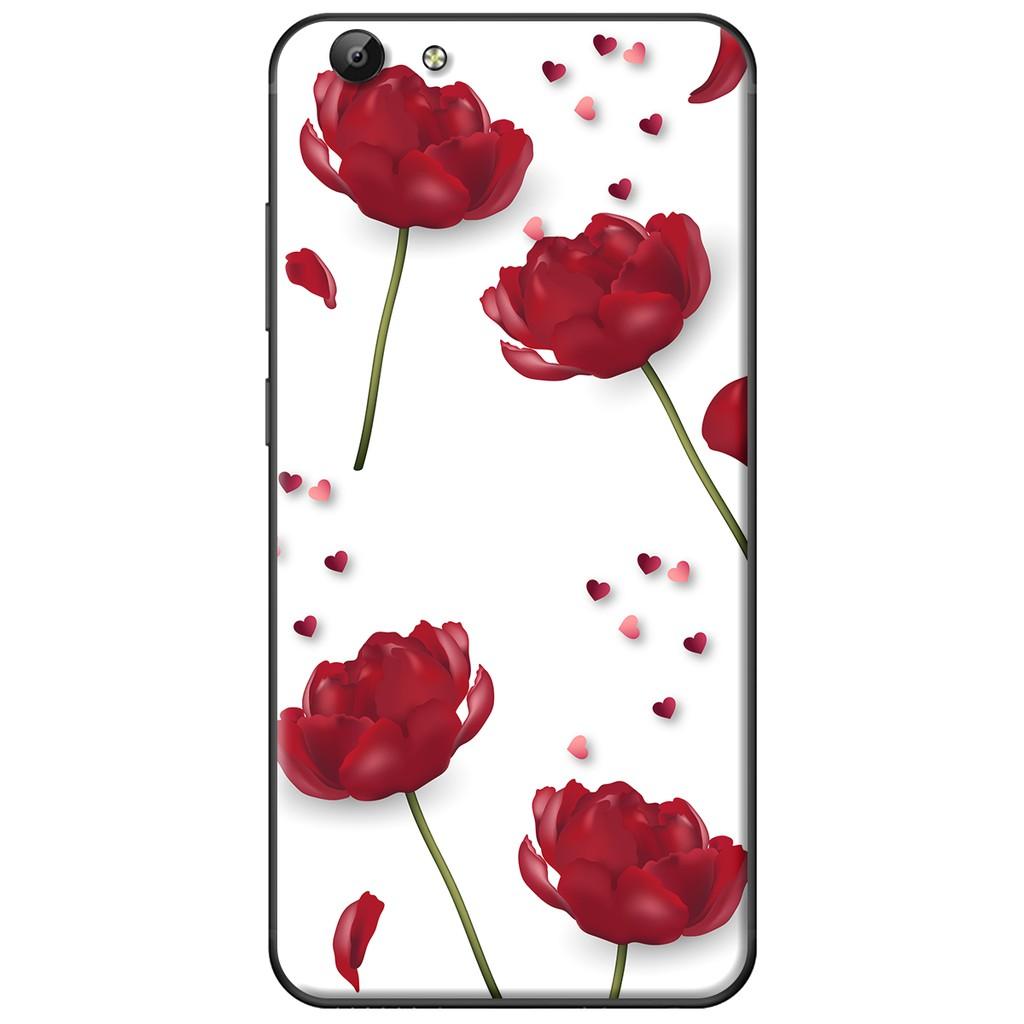 Ốp lưng Vivo Y69/Y55/Y53/V5/V5 Plus - nhựa dẻo Hoa đỏ trắng
