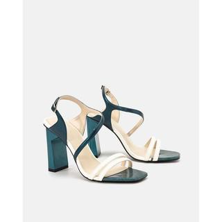JUNO - Giày Sandal Gót Trụ Phối Trung Tì Kim Tuyến - SD09088