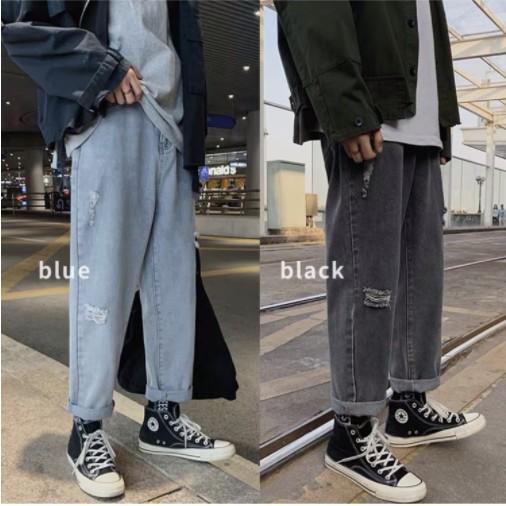 Quần Jean Baggy Nam Rách Gối Màu Xanh Và Màu Đen Ống Rộng Hàn Quốc Hot Trend 2020 -B04
