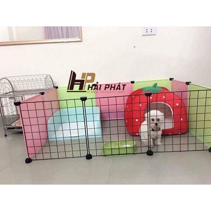 Chuồng chó mèo lắp ghép tiện lợi chắc chắn (3 Tấm lưới đen + 4 tấm nhựa hồng + 3 Tấm nhựa vàng chanh )