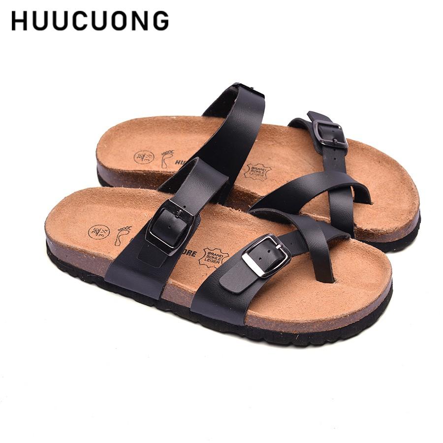 Dép HuuCuong -xỏ ngón đế trấu( đen)