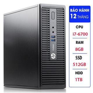Case máy tính đồng bộ HP ProDesk 400G3 SFF, cpu core i7-6700, ram 8GB, SSD 512GB,HDD 1TB Tặng USB thu Wifi thumbnail