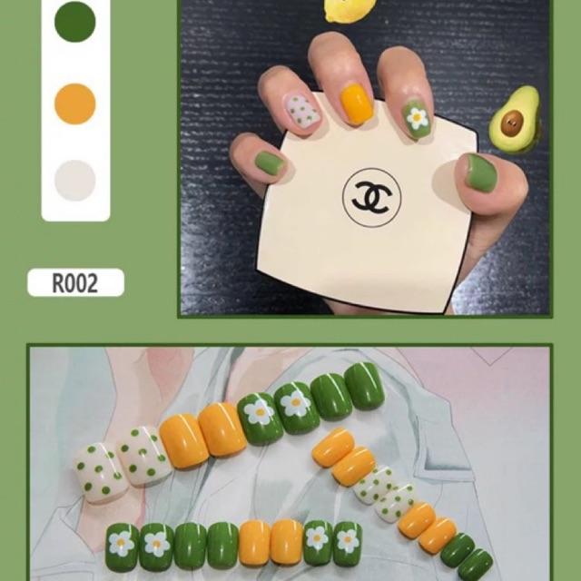 [Màu 1->20]Set móng tay giả 24 món