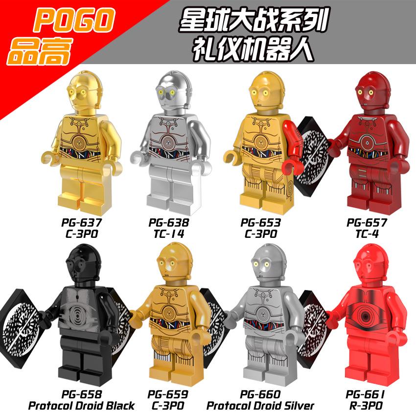 Lego Building Blocks Star Wars Minifigure PG8023 Robot C-3PO Building Blocks Toys For Kids