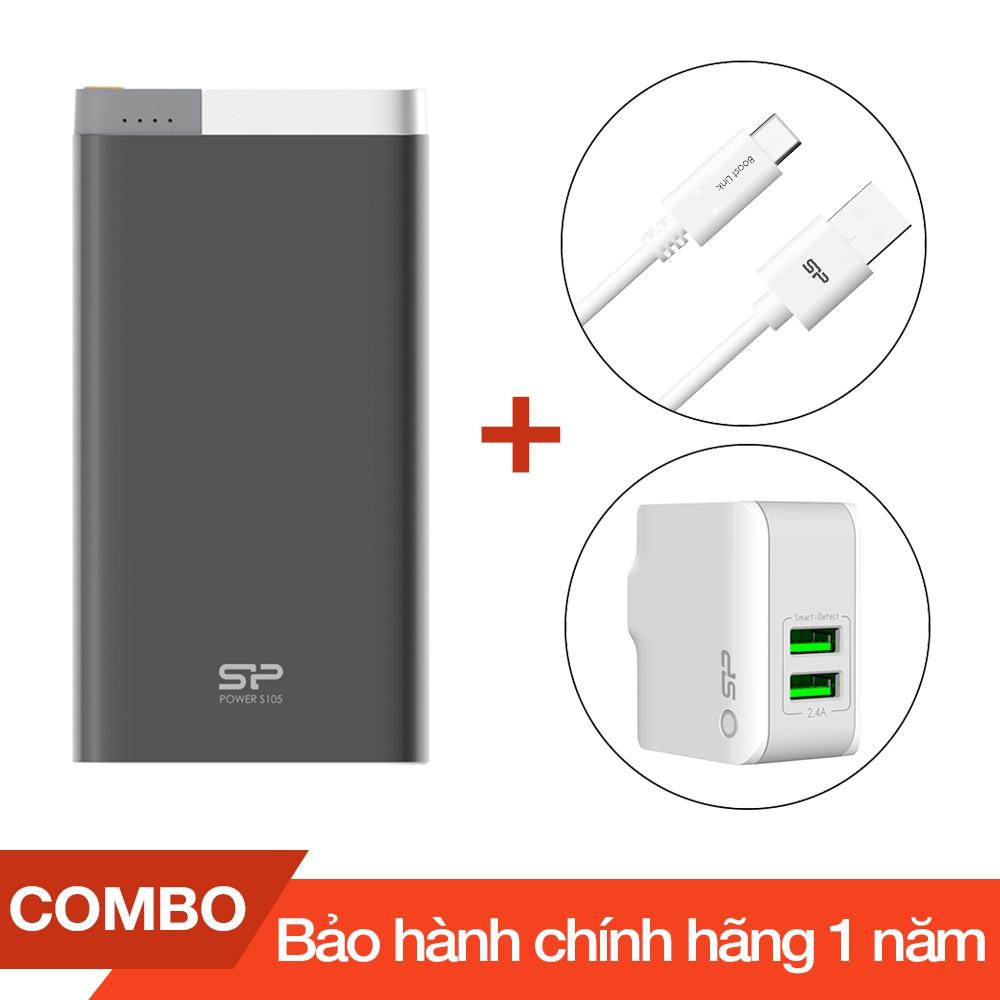 Combo Pin sạc dự phòng 10000mAh S105 Silicon + Cáp sạc Type-C Silicon dài 1m + Cốc sạc 2 cổng USB 2. - 2684967 , 1086221408 , 322_1086221408 , 700000 , Combo-Pin-sac-du-phong-10000mAh-S105-Silicon-Cap-sac-Type-C-Silicon-dai-1m-Coc-sac-2-cong-USB-2.-322_1086221408 , shopee.vn , Combo Pin sạc dự phòng 10000mAh S105 Silicon + Cáp sạc Type-C Silicon dài 1