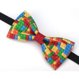 Nơ thắt cổ áo in hình lego độc đáo thời trang Anh quốc cao cấp cho nam