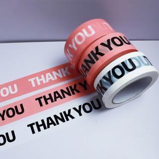 TELBăng dính trắng đóng gói hàng in chữ THANK YOU cuộn lớn 100 mét thumbnail