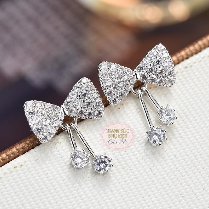 Bông tai nữ thời trang Hàn Quốc hình nơ cực xinh HT141 S925, giá rẻ