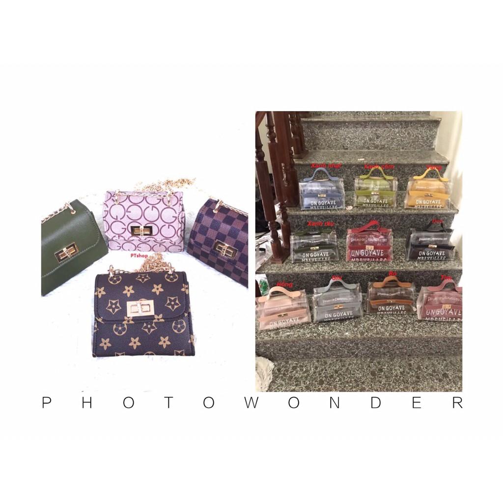 Combo 3 túi nhựa trong phong cách Hàn Quốc + 2 túi xách nữ thời trang PT15