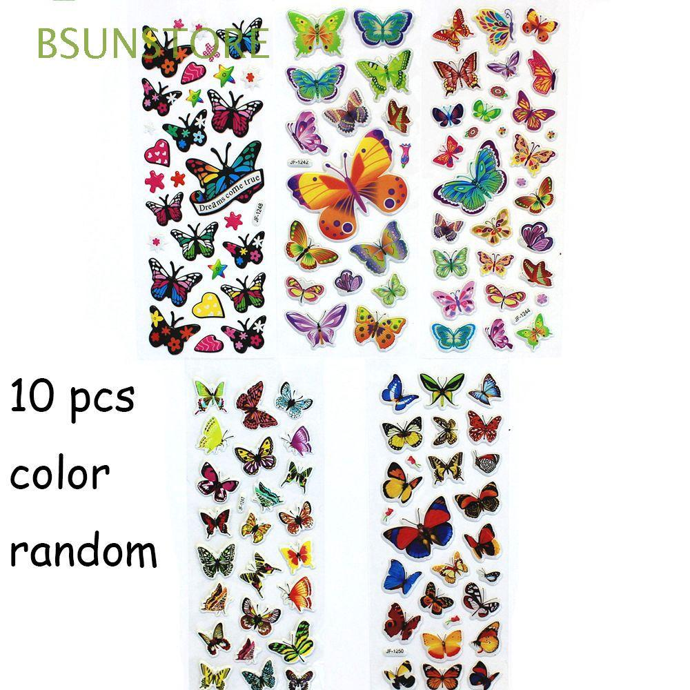 10 Sheets Popular Colorful Reward Puffy Kawaii Butterflies Stickers