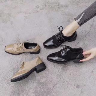 (Có sẵn Đủ size) Giày Oxford nữ cao cấp phối da lộn da lì (Màu Đen Nâu) Đế cao su 4p phân cm tôn dáng dễ phối đồ