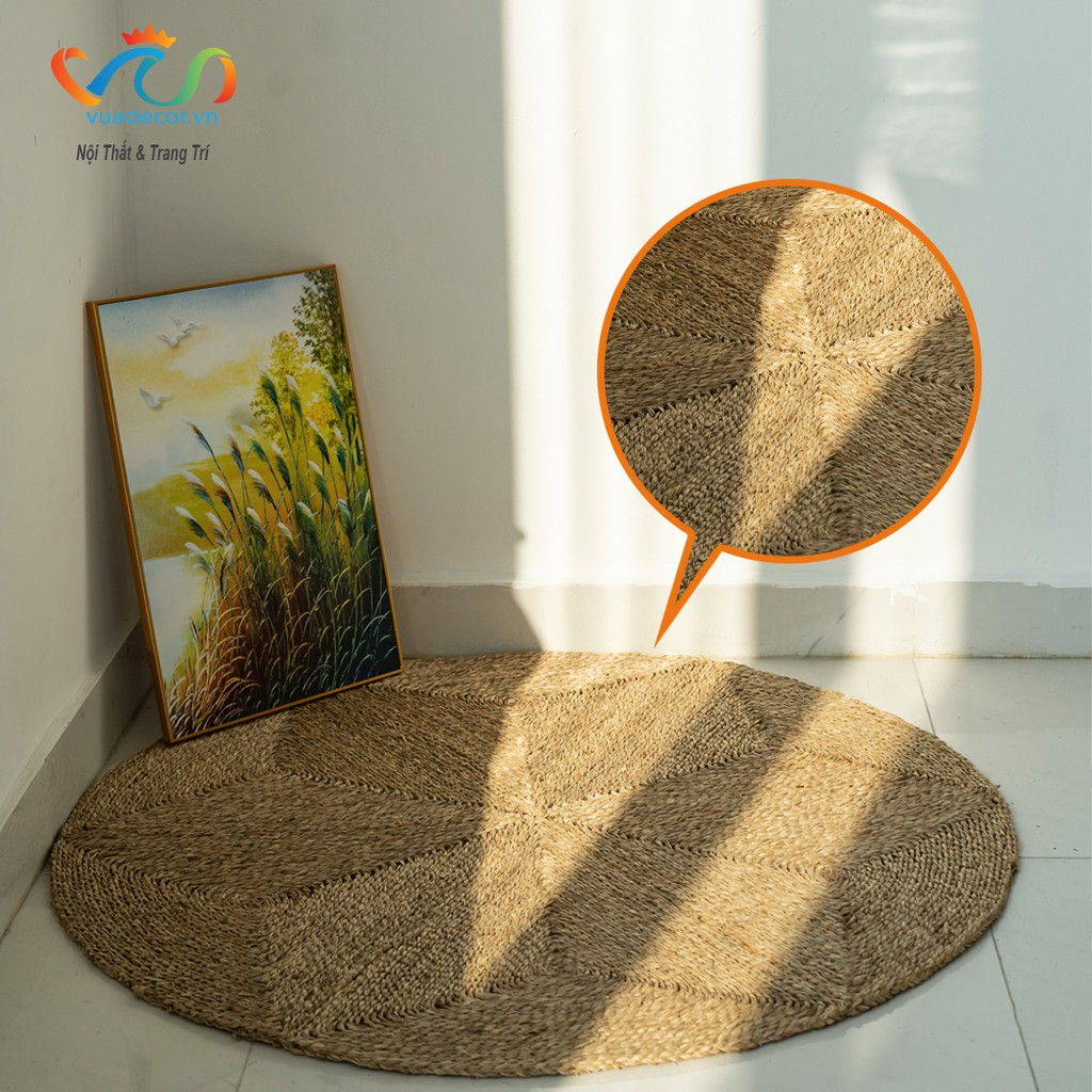 Thảm lục bình thảm cói VUADECOR hình tròn kích thước 1m2 trang trí, decor nhà cửa, nội thất