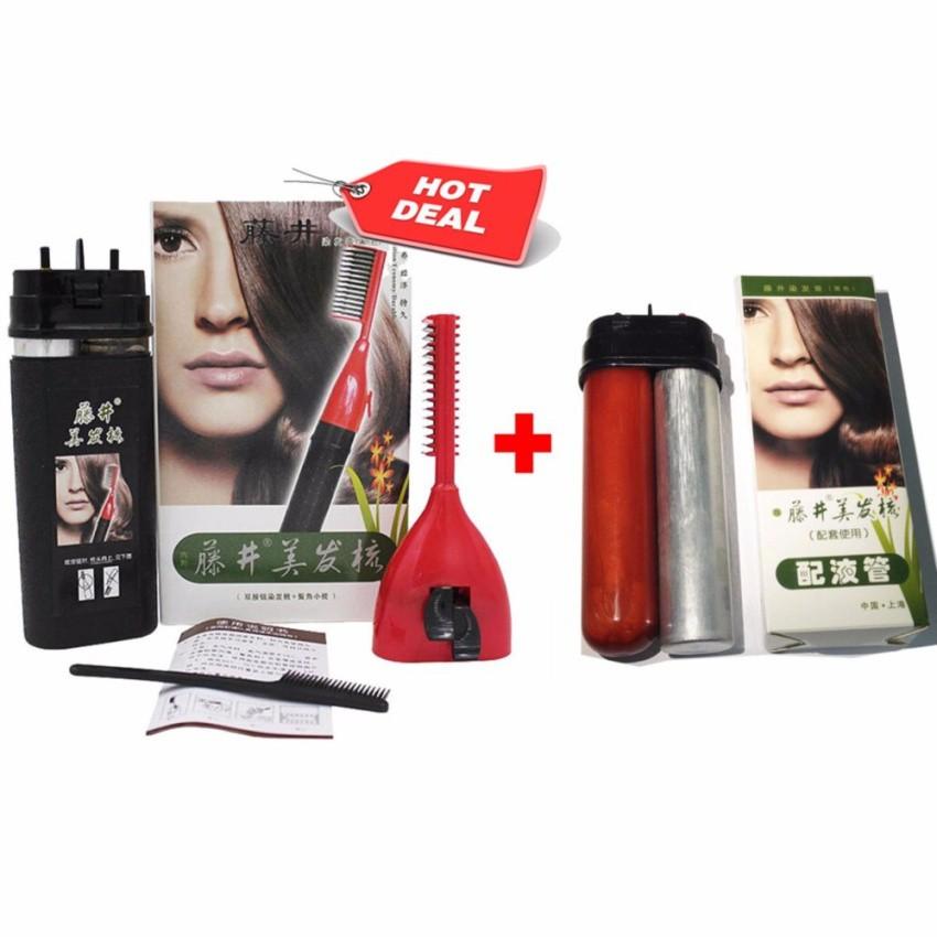Combo lược nhuộm tóc thông minh và lõi thuốc thay thế (màu nâu)