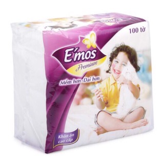 [CHÍNH HÃNG] Thùng 30 bịch khăn giấy E'mos vuông (330x330mm)