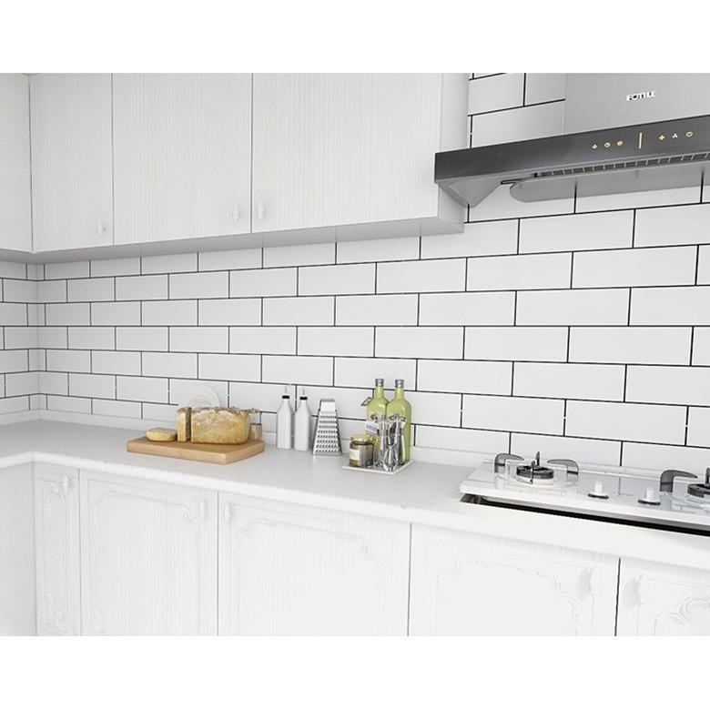 Decal Dán Bếp Tráng Nhôm  FREESHIP  Giấy decal dán tường dán bếp gạch trắng cuộn 60cm* 5m