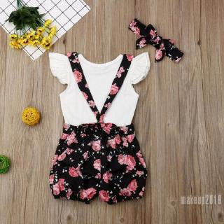 Mu♫-Toddler Baby Girls Ruffle Tops Suspender Shorts Overalls Outfits Set Summer Clothes