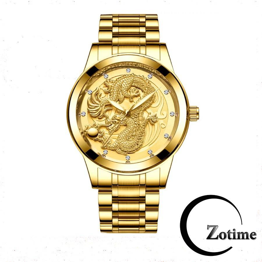 Đồng hồ nam Dotime mặt rồng vàng phiên bản doanh nhân cao cấp ZO202