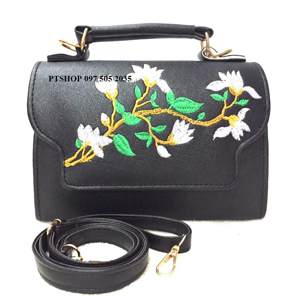 Túi xách nữ thời trang PT14/ túi xách thêu hoa
