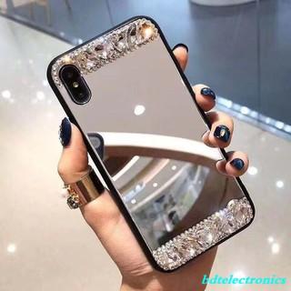 Ốp lưng mặt gương đính đá nhân tạo dành cho điện thoại Samsung A70 A50 A6 J8 J6 J4 Plus 2018 J7 J5 J2 Prime A7 A5 2017
