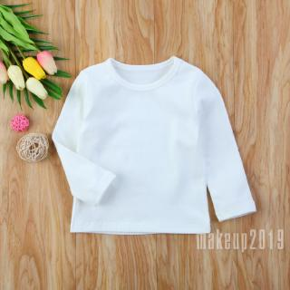 Mu♫-Simple Solid Color Cute Toddler Newborn Kids Baby Boys Girls Cotton Warm Clothing T-shirt Tops