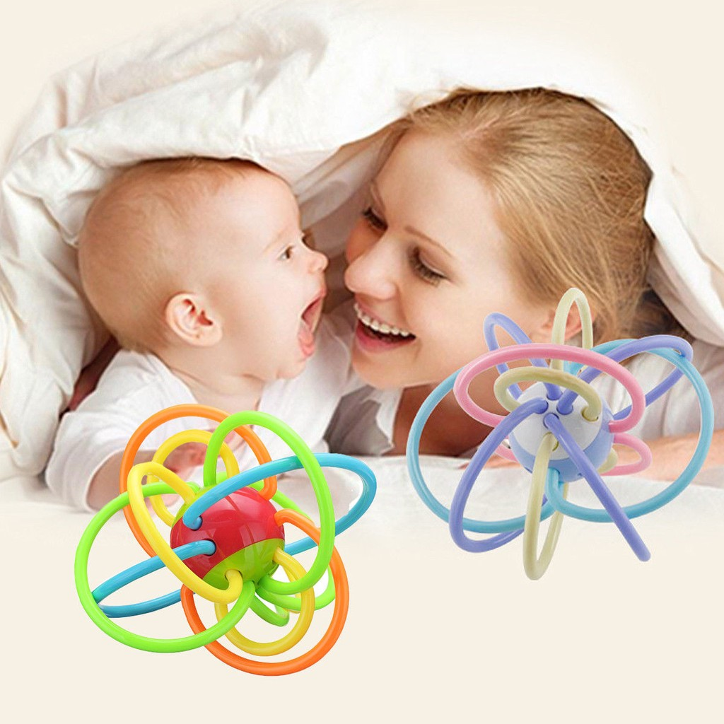 1 Pcs Funny Manhattan Rattle Sensory Teether Activity Rings Baby Feeder Teething Toys