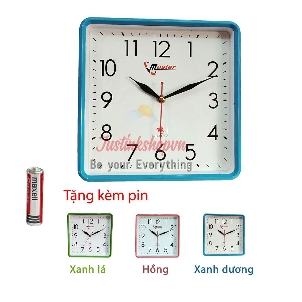 Đồng hồ treo tường trang trí kiểu đẹp hiện đai Master kim giật mặt vuông giá rẻ nhất HD14 (nhiều màu)-NQL-DHTT-HD14-Xadu