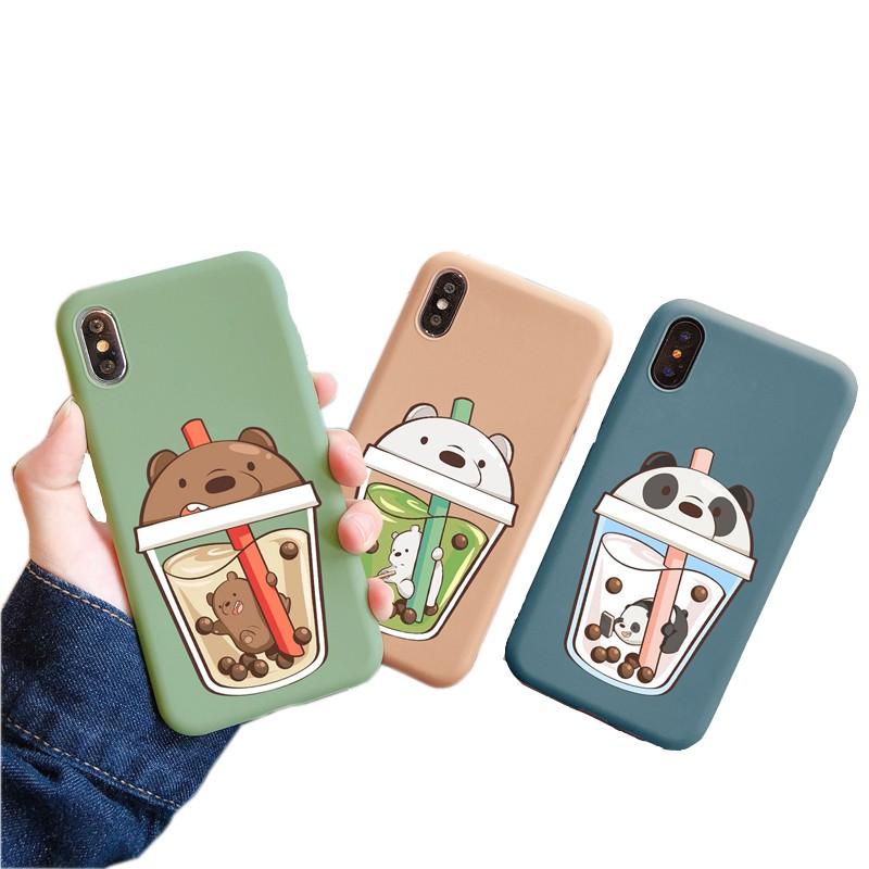Ốp điện thoại TPU mềm in hình gấu trong cốc nước xinh xắn cho iphone 6 6s 7 8 6P 7P 8P X XS XR XSMAX