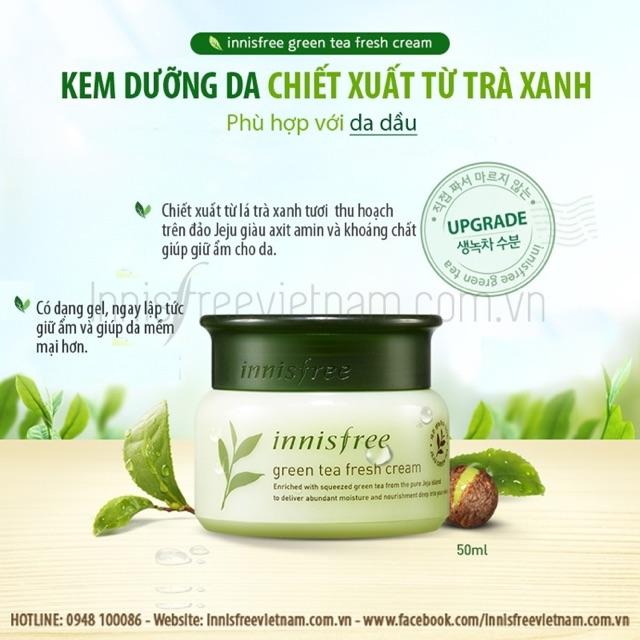 Dành cho da dầu kem dưỡng Innisfree green tea fresh cream - 2896072 , 315298256 , 322_315298256 , 310000 , Danh-cho-da-dau-kem-duong-Innisfree-green-tea-fresh-cream-322_315298256 , shopee.vn , Dành cho da dầu kem dưỡng Innisfree green tea fresh cream