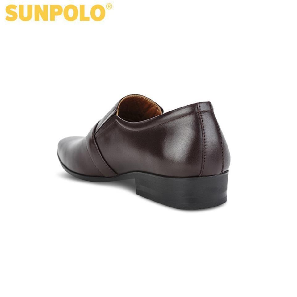 [Sale 3/3]Giày Tây Nam Da Bò SUNPOLO Đen Nâu - SUMU07DN -pi9