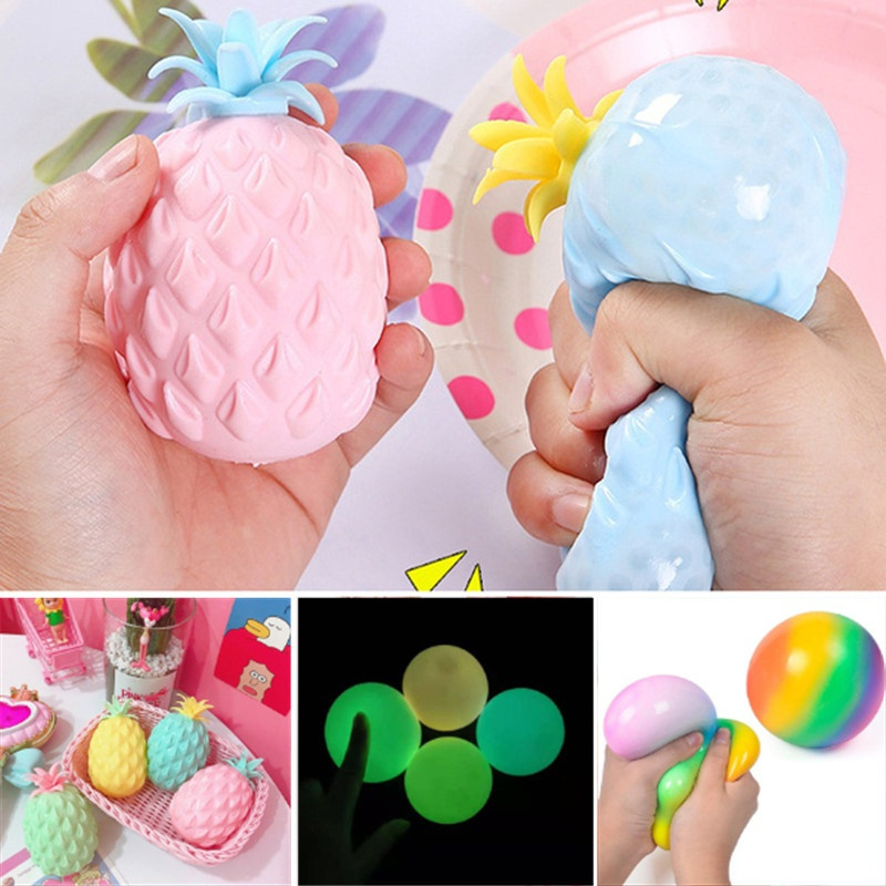 Stress Relief Ball Set Soft Pineapple Squeeze Toy Decompression Fidget Toys Glow In The Dark Antistress Vent Squeeze Toy for Kids Adults