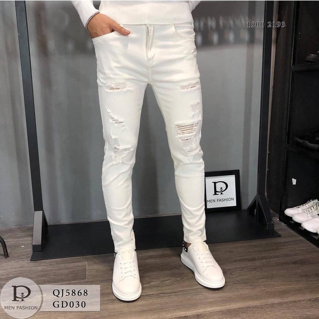 Quần jean nam trắng trơn rách thời trang phong cách