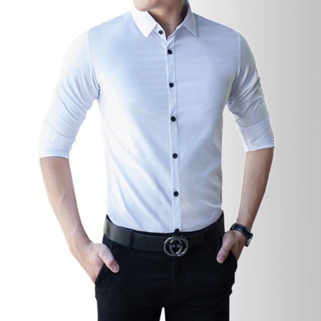 Áo sơmi trắng,vải lụa ,dài tay ,cúc đen - Dài tay