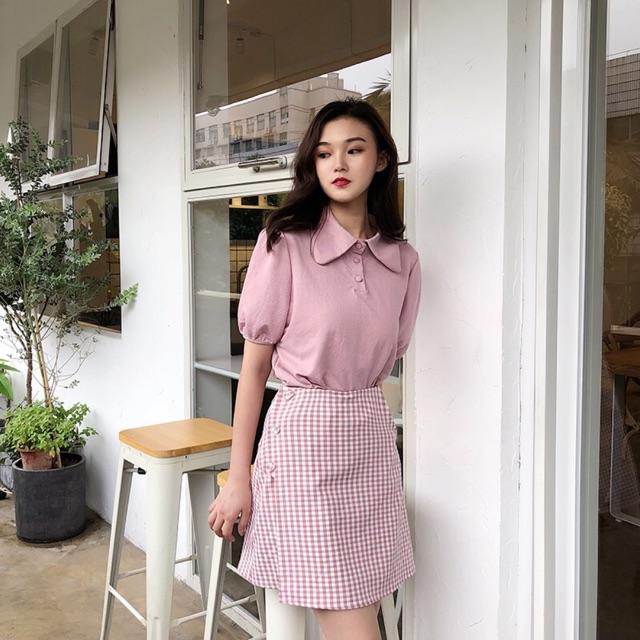 1236450464 - Chân váy caro hồng V0004