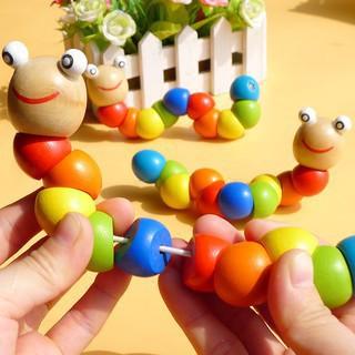 [SIÊU SALE] Đồ chơi con sâu gỗ uốn dẻo nhiều màu sắc đáng yêu cho bé
