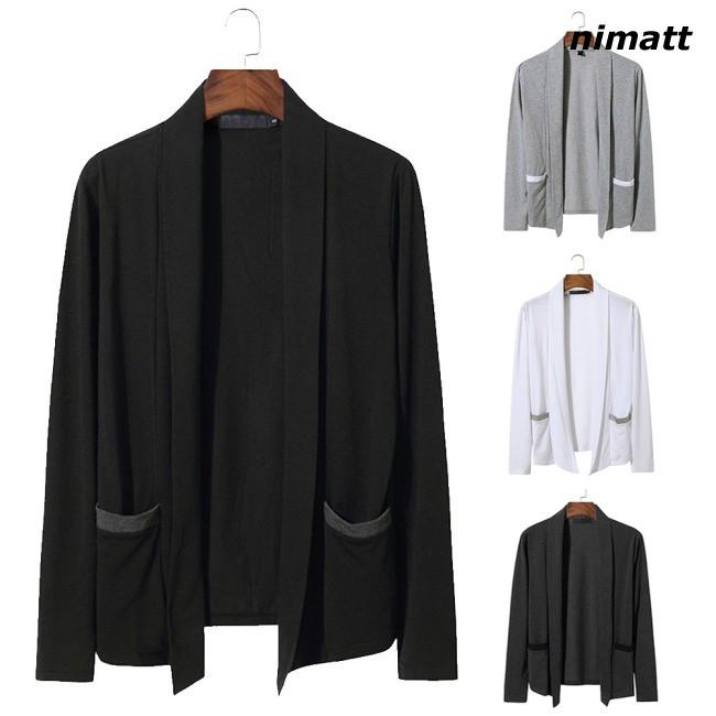 Áo khoác cardigan nam thời trang dài tay phong cách mới không có nút (túi)